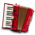 Retro Small Red Accordion Isolated On White