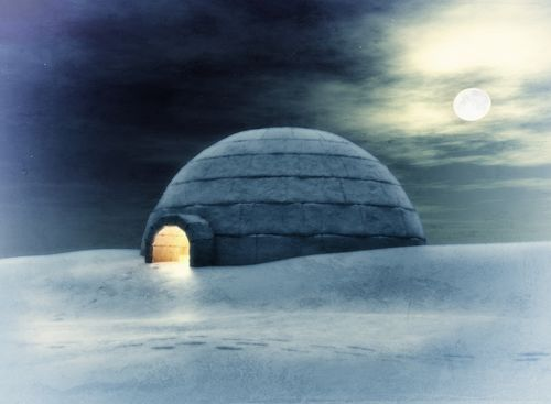 Igloo At Night 3D And Hand Drawing Elements Combined