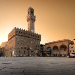 Belltower And The Old Palace On Piazza Della Signoria In Florence Italy