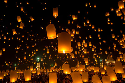 Flying Sky Lantern On Yeepeng Festival Thai Lanna Tradition Religion In Chiangmai Thailand