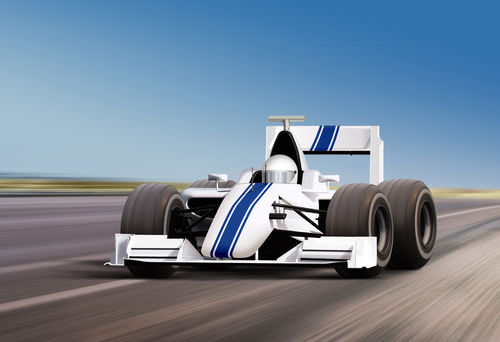 Formula One Race Car On Speed Track Motion Blur
