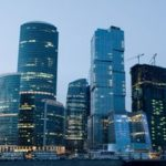 Modern Skyscrapers At Night Moscow City Russia
