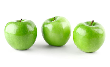Three Green Apples Three Green Apples Isolated On White Background